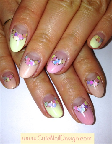 Double French Nails with Pastel Hologram
