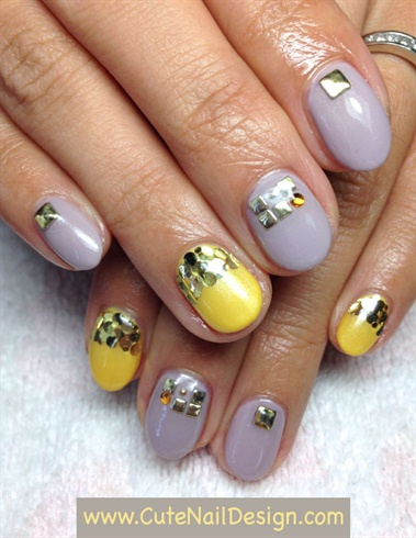 Grey x Yellow gel nails