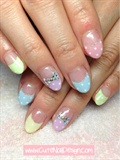 Colorful Pastel Polka Dots French Nails