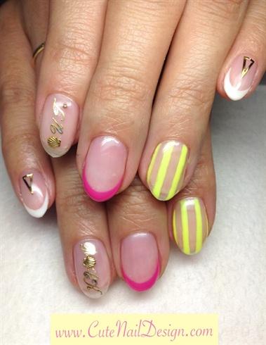 Neon Mix design nails