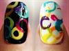 Rainbow-Abstract Circles Nails