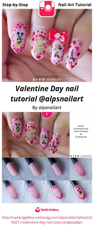 Valentine Day nail tutorial @alpsnailart - Nail Art Gallery
