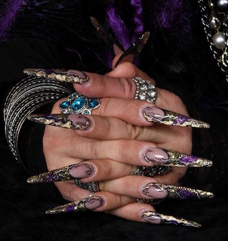 stiletto black gold purple