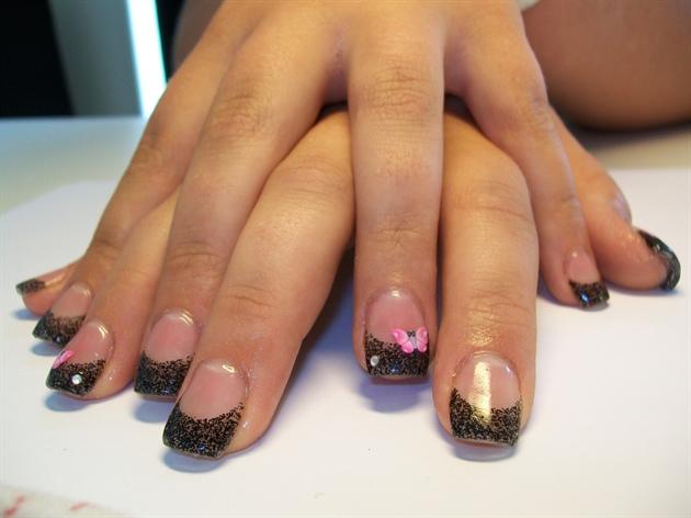 Black glitter gel with pink butterflys