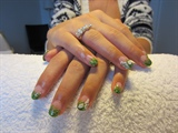 Green acrylic with 3D acrylic nail art