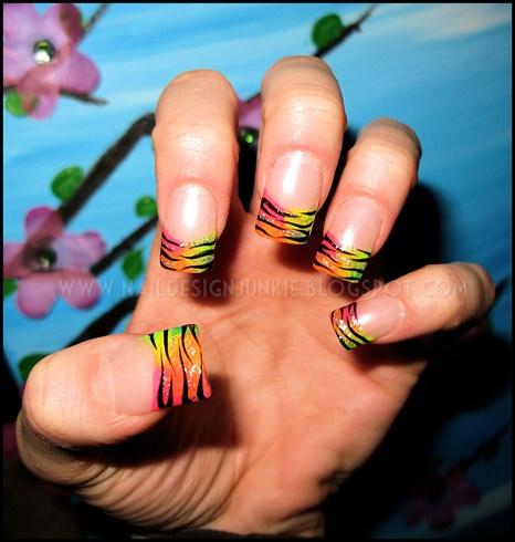 Rainbow Zebra French Tips