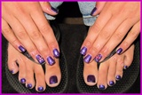 Natural Nail Purple Mani & Pedi