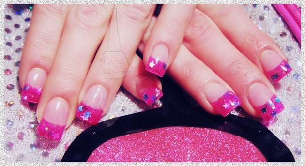 Bright Pink & Star Tips