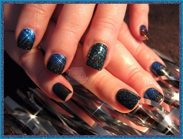 Black and Blue Glitter Gel Polish