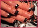 Black French Tips with Rhinestones