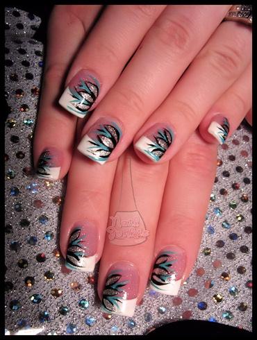 Blacktealsilver Glitter Flower Art Nail Art Gallery