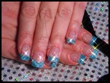 Blue Glitter Tips