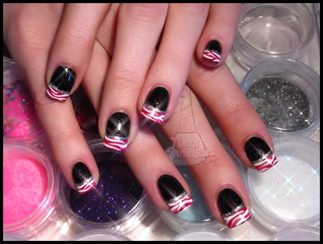 Black Pink White With Zebra Nail Art Gallery