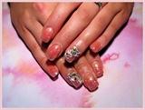 Peach Swarovski Prom Nails!