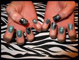 Teal & Black Glitter Acrylic Set
