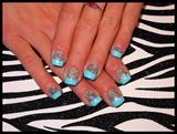 Silver Glitter & Blue Tip
