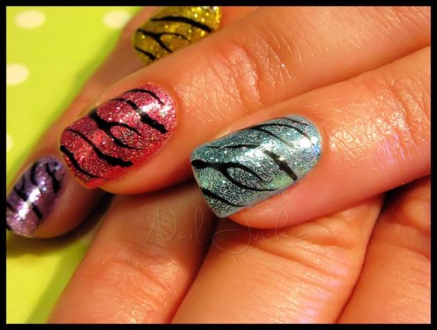 Rainbow Zebra Gel Manicure