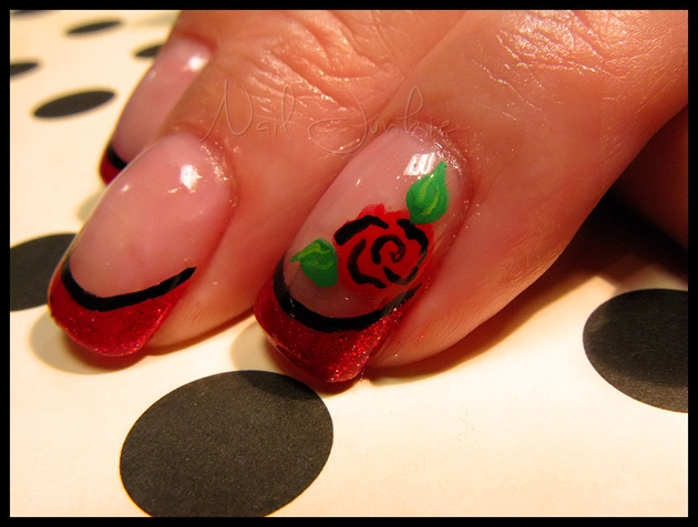 Red Rose Nail Art