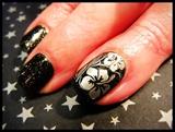 Black & Silver Hibiscus Art
