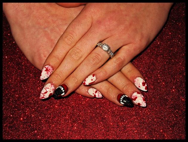 Vampire Blood Splatter Nails