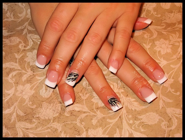 Wedding Nails with Feather Accent