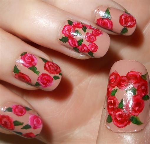 Heart of Roses Nail Art