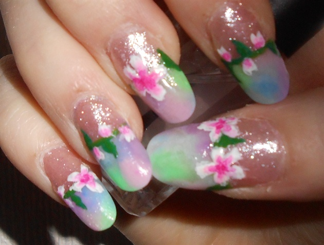Marble Acrylic Tips and Spring Flowers