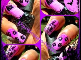 nail art: creeping Cats