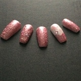 Pink Sparkly Xmas Nails