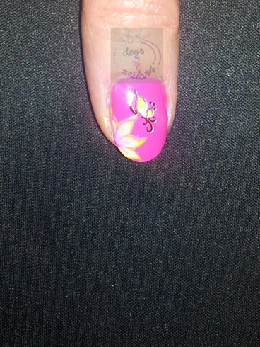 Waterdecal with handpainted flower