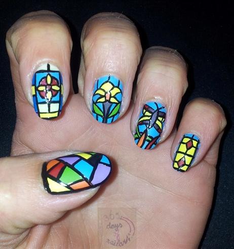 Nail art leaded glass