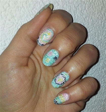 Mosaic nails (crushed shell)