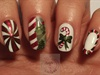 Candy striped Christmas nails