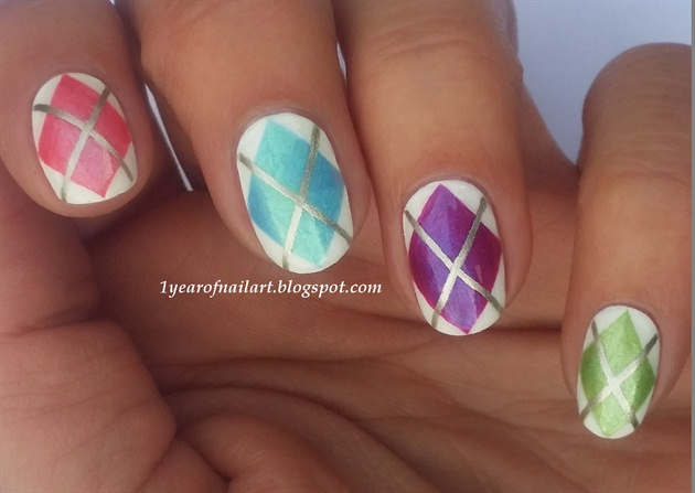 Spring Argyle nails