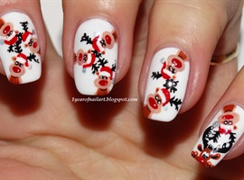 nail art: Ten Rudolph Reindeers