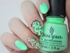 Neon Mint Green Leopard Print Nails