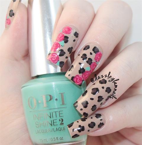 Fl Leopard Print Nails