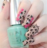 Floral Leopard Print Nails