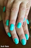 Turquoise Gel Nails With Sparkle!!