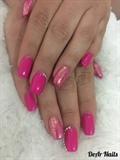 Pink Glitter & Rhinestones Nails