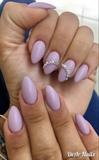 Purple Matte Nails With Rhinestones