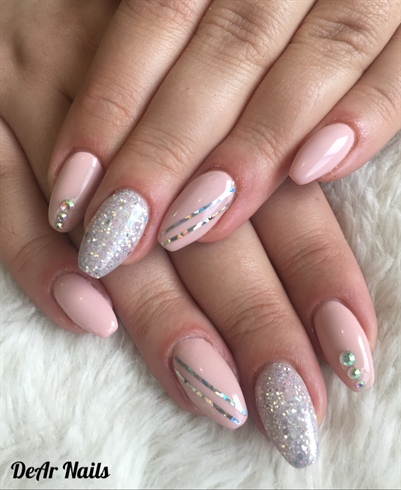 Nude Pink And Glitter Nails