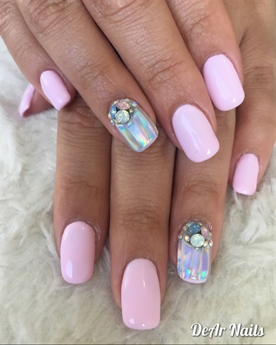 Baby Pink Holo Nails