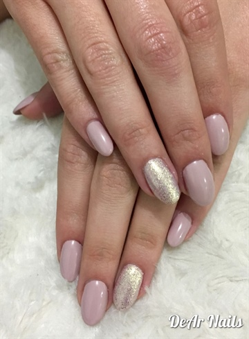 Nude And Gold Shimmer Nails
