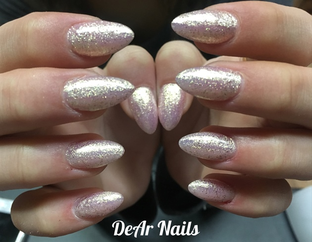 Almond Shimmer Nails Nail Art Gallery
