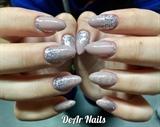 Almond Glitter Fade Nails