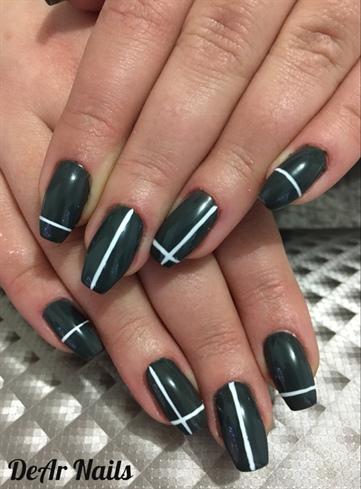 Dark Gray Nails & Stripes