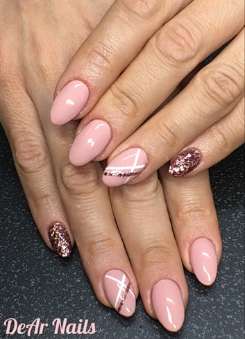 Nude Pink Nails And Stripes Nail Art Gallery