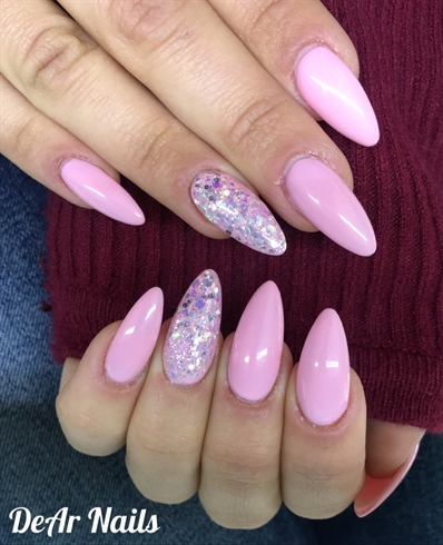 Long Pink Almond Nails