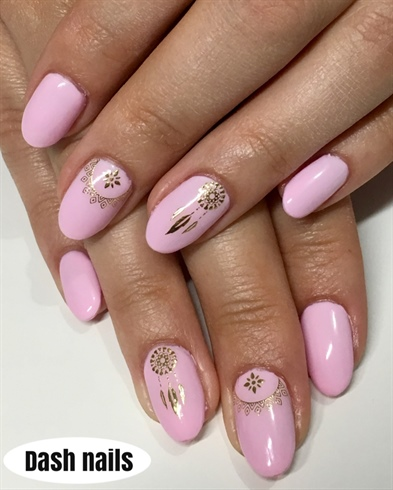 Dream Catcher On Baby Pink Nails